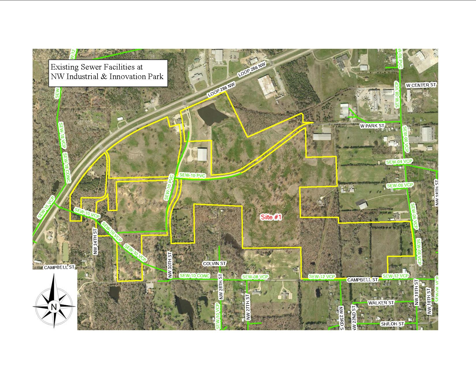 Existing Sewer map for NW Industrial Park