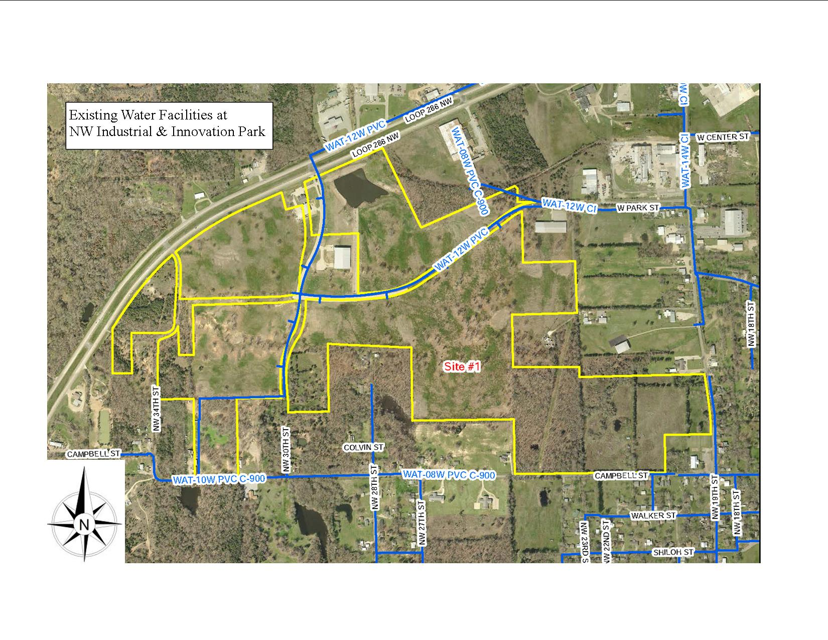 Existing Water map for NW Industrial Park